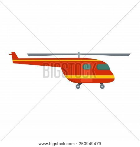 Rescue helicopter icon. Flat illustration of rescue helicopter vector icon for web isolated on white stock photo