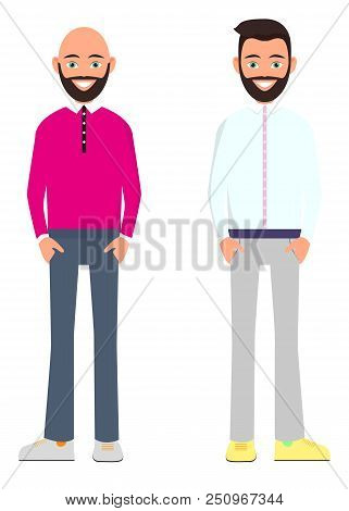 two friends are standing on a white background. A young man with a beard and a white shirt. A young man with a beard and hairless in a pink shirt. A young hipster man with a beard. Vector illustration stock photo