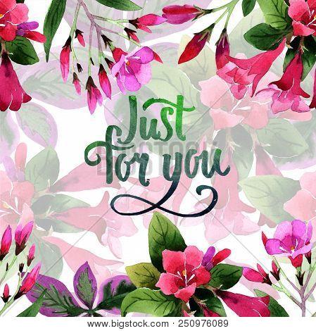 Watercolor pink weigela florida flowers. Floral botanical flower. Frame border ornament square. Aquarelle wildflower for background, texture, wrapper pattern, frame or border. stock photo