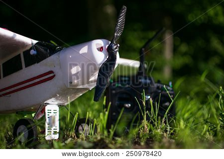 RC Plane in low angle with grass stock photo