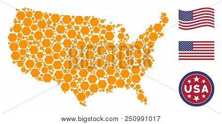 Filled hexagon items are arranged into USA map collage. Vector collage of USA territorial map is constructed with filled hexagon elements. Designed for political and patriotic collages. stock photo