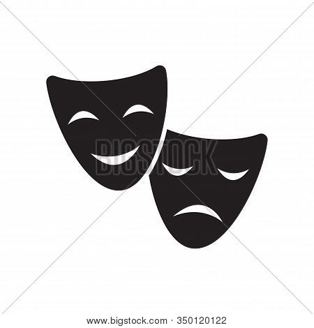Theatre or opera drama masks black isolated vector icon. Sad and happy, comedy and tragedy theater mask symbol. stock photo