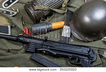 vintage background with german army field equipment. world war two stock photo