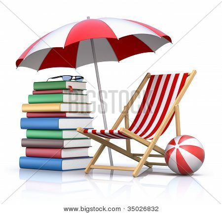 3D concept with beach chair, umbrella and books stock photo