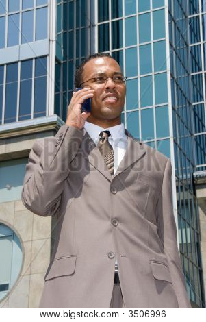 African American Businessman On Cell Phone