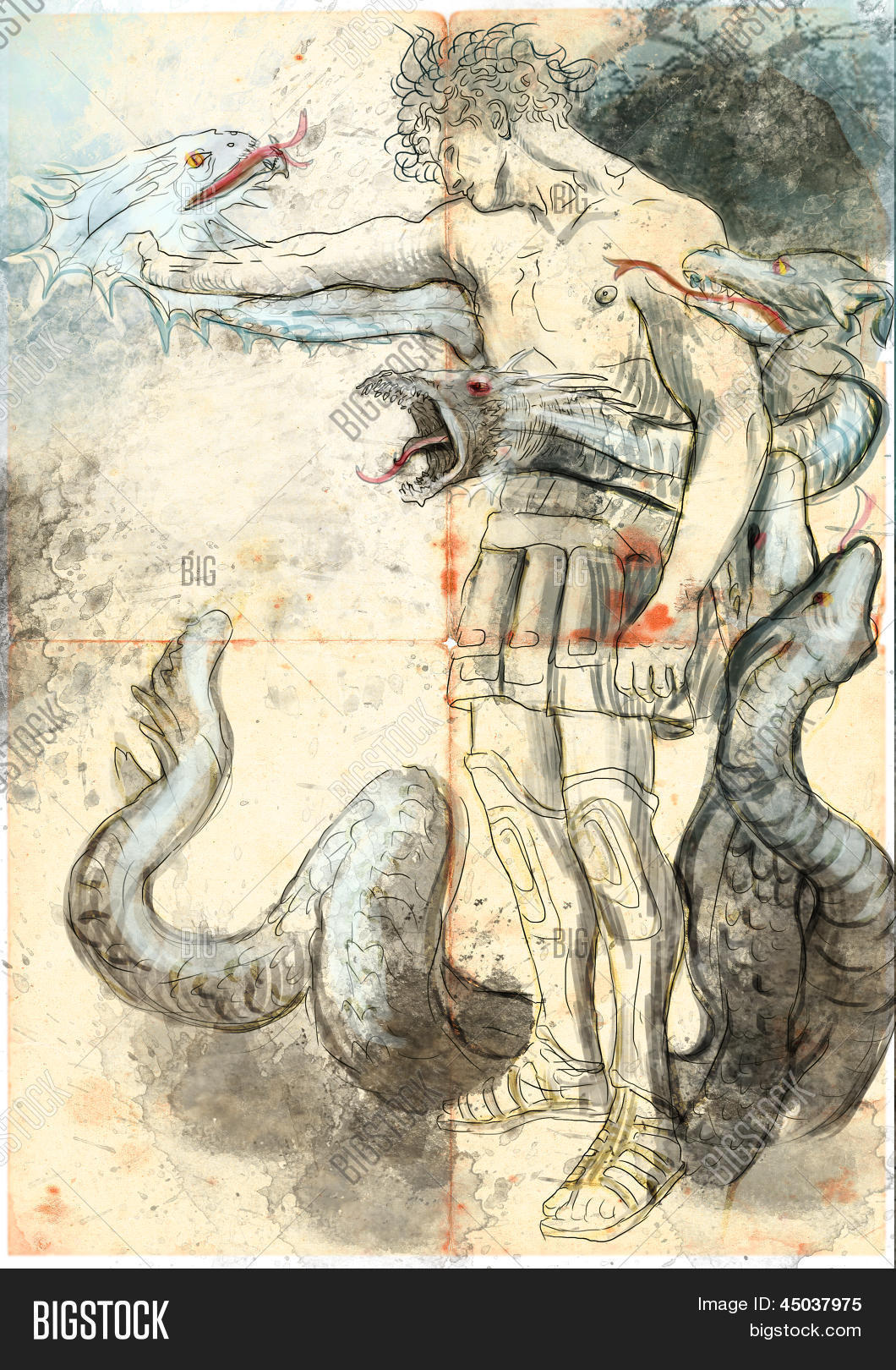 Hercules - Slay the nine-headed Lernaean Hydra. /// Full sized hand drawing.
