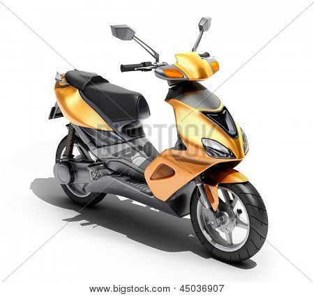 Trendy orange scooter close up on a light background stock photo