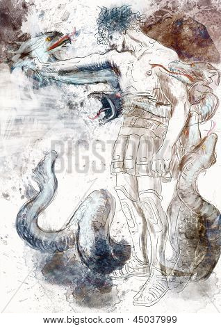 Hercules - Slay the nine-headed Lernaean Hydra. /// Full sized hand drawing. stock photo
