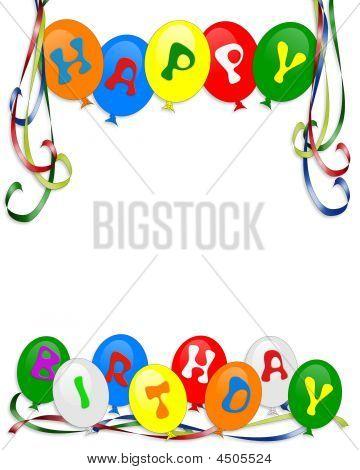 Happy Birthday Balloons Border Photo Stock