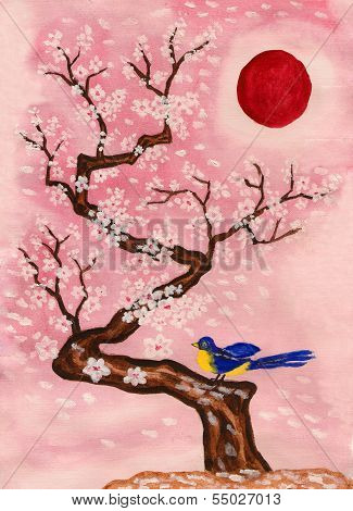 Bird on branch with white flowers, painting