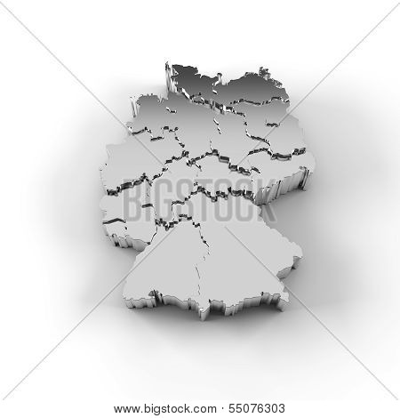 High resolution Germany map in 3D in silver with states stepwise arranged and including a clipping path. stock photo