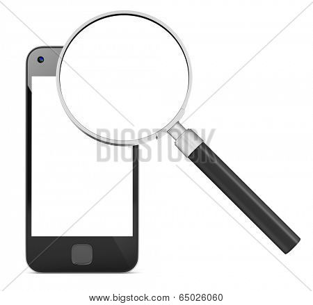 Smart phone research and magnifying glass. stock photo