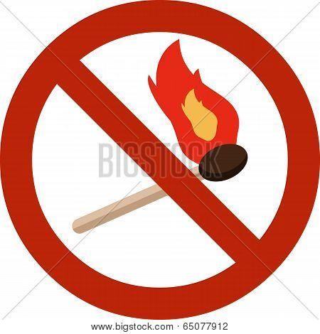 Vector Sign No Fire. Editable EPS 10 and JPG Format. stock photo