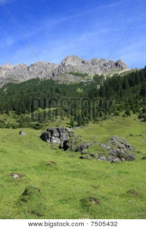 Green meadows and beautiful mountains. Austrian Alps landscape. Lechtal Alps group.