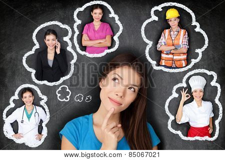 Education and career choice options - student thinking of future. Young Asian woman contemplating ca