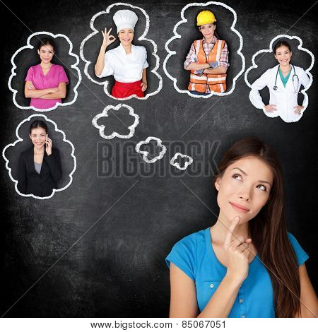 Career education choice options - student thinking of future education. Young Asian woman contemplat