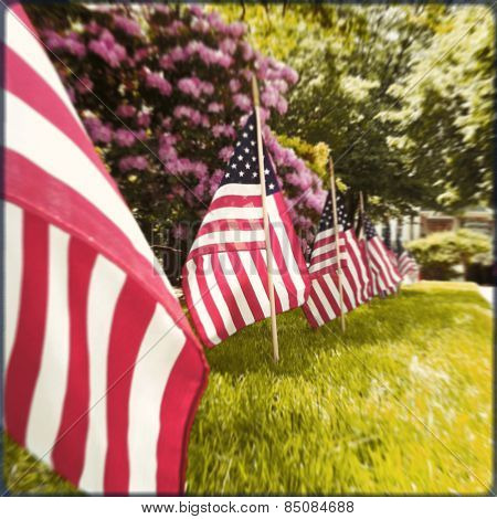 Instagram style row of US flags for Memorial Day, 4th of July, Veteran\'s Day
