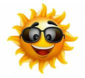 Summer Sun Face with shades and Happy Smile