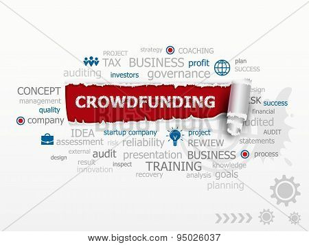 Crowdfunding word cloud concept. Design illustration concepts for business consulting finance management career. stock photo