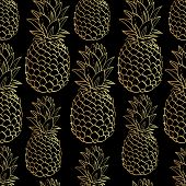 Exotic consistent example with outlines tropical organic product pineapples.