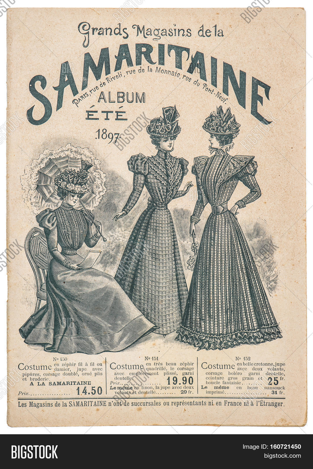 Antique fashion shop advertising cover of original shopping catalog La Samaritaine Paris France circa 1897