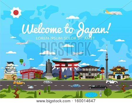 Welcome to Japan poster with famous attractions vector illustration. Travel design with Torii gate, Fujiyama mountain, Buddha, ancient temple, pagoda. Worldwide traveling, time to travel concept
