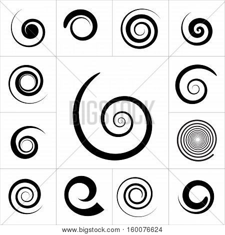 Collection of abstract spiral vector elements. Isolated stock photo