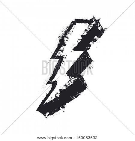 Lightning bolt grunge icon. Thunderbolt illustration. Levin grunge symbol. Grunge design element. Isolated on white stock photo