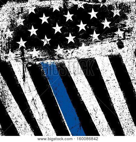 American Flag with Thin Blue Line. Grunge Patriotic Background.-Lg Fridge Magnet Skin (size 36x65)