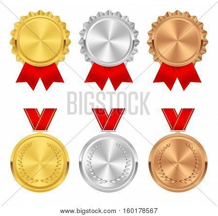 Set of gold silver and bronze award medals. Rosettes with red ribbons. Medal rosette vector collection isolated on white background. Premium badges. Winner awards.