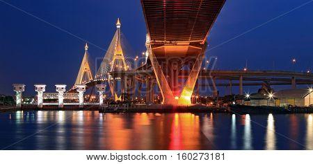 Panorama of Mega Bhumibol Industrial Bridge Bangkok at dusk stock photo