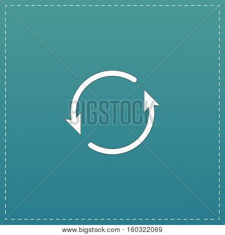 Arrow circle - cycle, loop, roundabout . White flat icon with black stroke on blue background stock photo