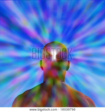Hi-Res Key hole in mans head radiating light stock photo