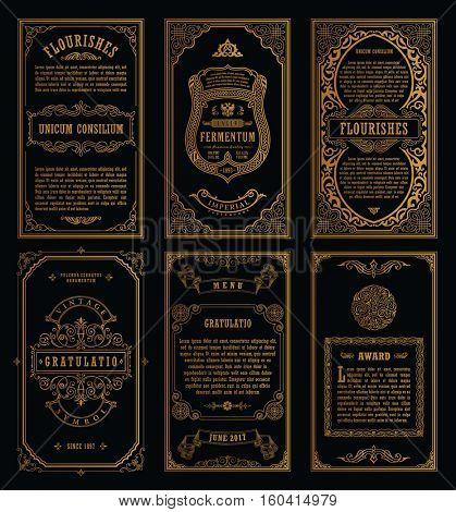 Vintage golden vector set retro cards. Template greeting card wedding invitation. Line calligraphic