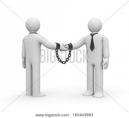 Strong partnership. Conclusion of contracts. Mutual obligations. 3d illustration stock photo
