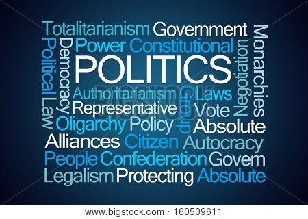 Politics Word Cloud on Blue Background stock photo