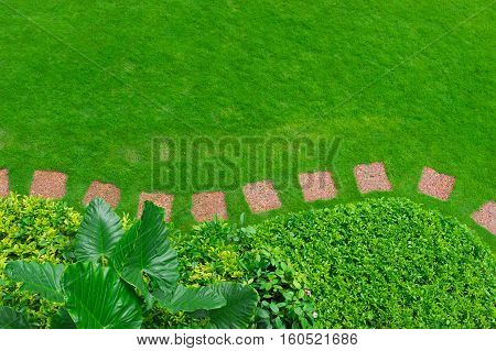Pathways with green lawns, Landscaping in the garden,Top view of curve walkway on green grass field and flower garden
