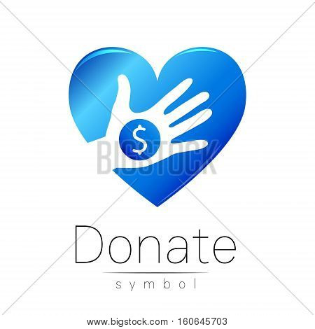 Donation sign icon. Donate money hand and heart. Charity or endowment symbol. Human helping. Icon on white background. Vector.Blue color. Concept. stock photo