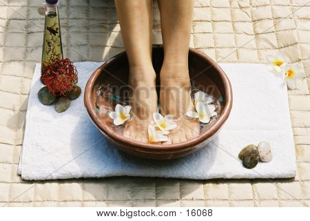 relaxing with an aromatherapy footsoak and spa (film) stock photo