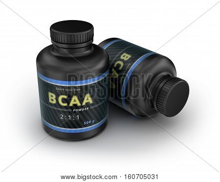 BCAA Container. Branched-Chain Amino Acids set. Sport Nutrition with BCAA. 3D illustration stock photo