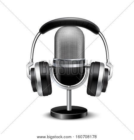 Microphone with stand and headphones vintage retro style sound recording equipment realistic image shadow white background vector illustration stock photo