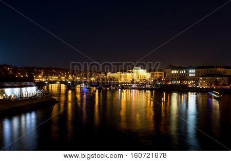 Night photo Prague river Vltava Bohemia Czech Republic stock photo