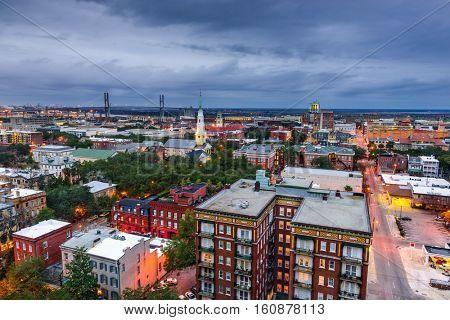 Savannah, Georgia, USA downtown at dusk.