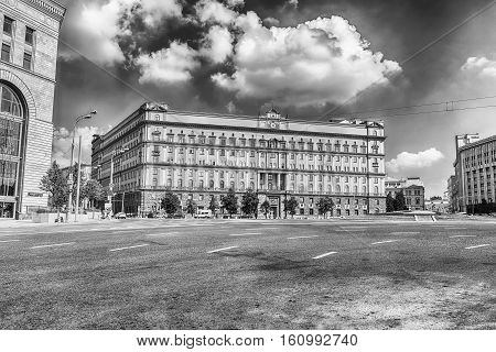Lubyanka Building iconic KGB former headquarters landmark in central Moscow Russia stock photo