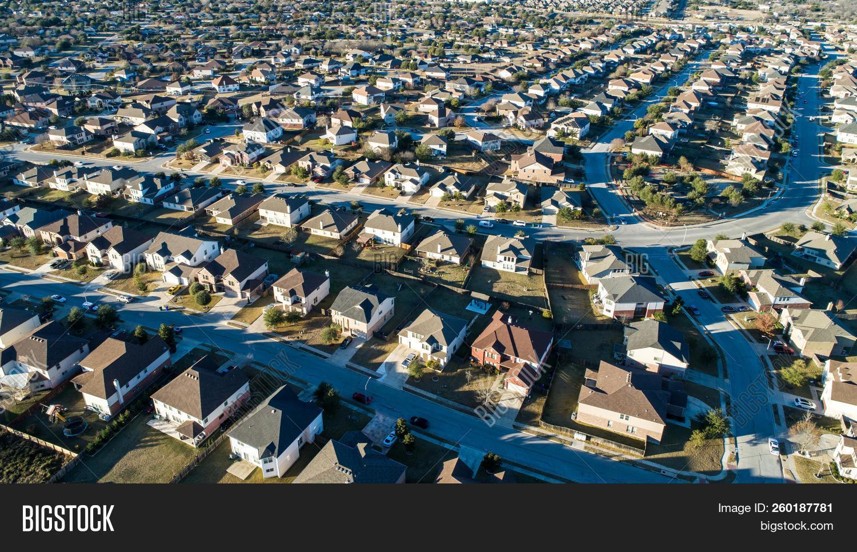 Curved Street On Neighborhood Layout Urban Development Aerial Drone View High Above Suburb Neighborh