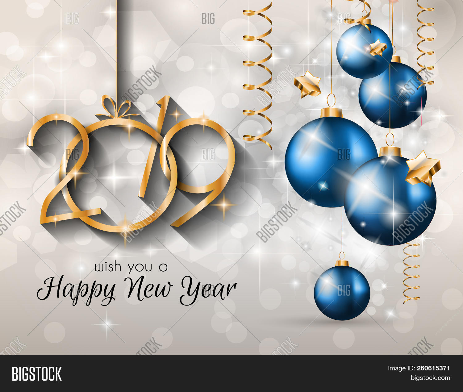 2019 Happy New Year Background for your Seasonal Flyers and Greetings Card or Christmas themed invit