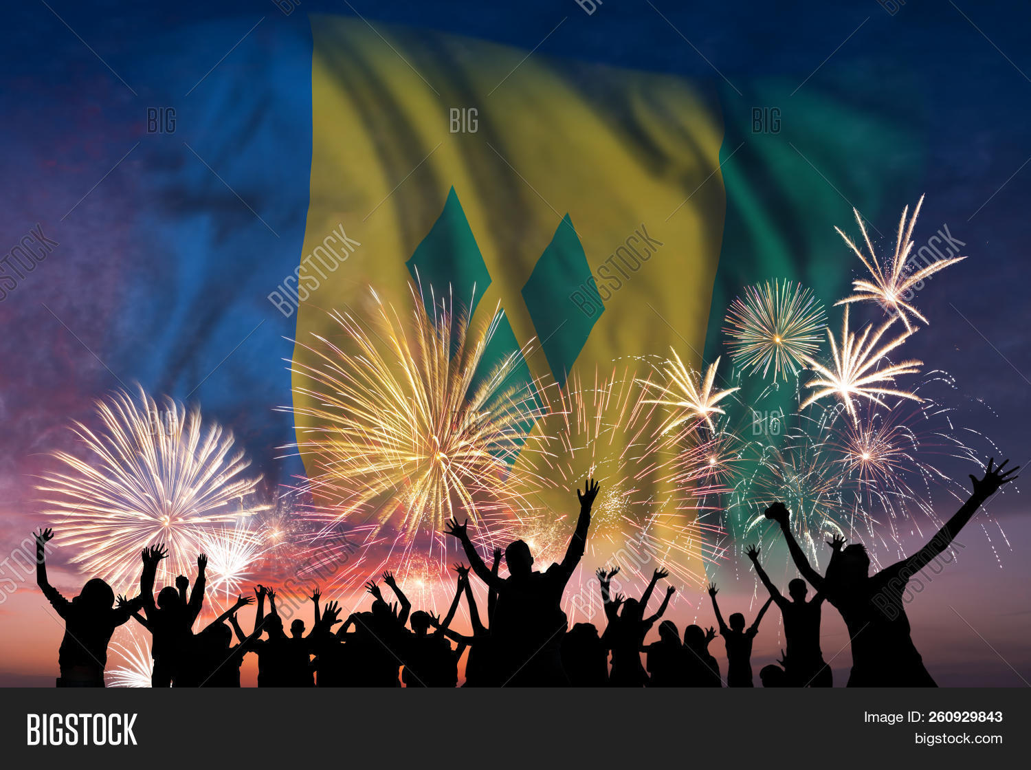 🔥 Happy People Are Looking Holiday Fireworks With Flag Of
