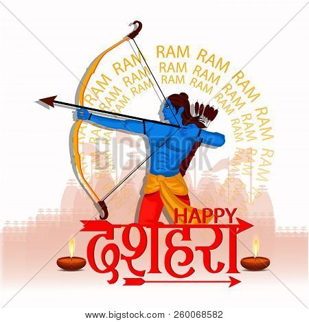 Happy Dussehra festival of India background with Hindi text Dussehra stock photo