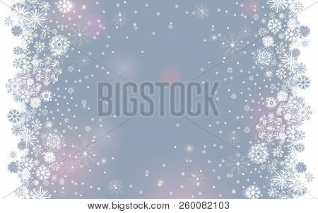 Falling Snow Border On A Light Tender Silver Grey Background. Abstract Winter Lights Blurry Backgrou