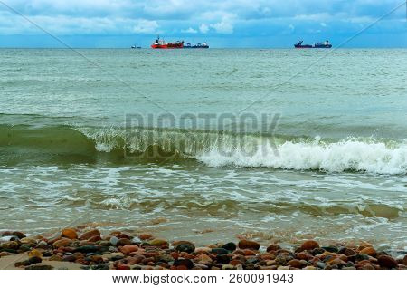 oil production at sea, equipment for gas and oil production on the sea horizon, baltic sea stock photo